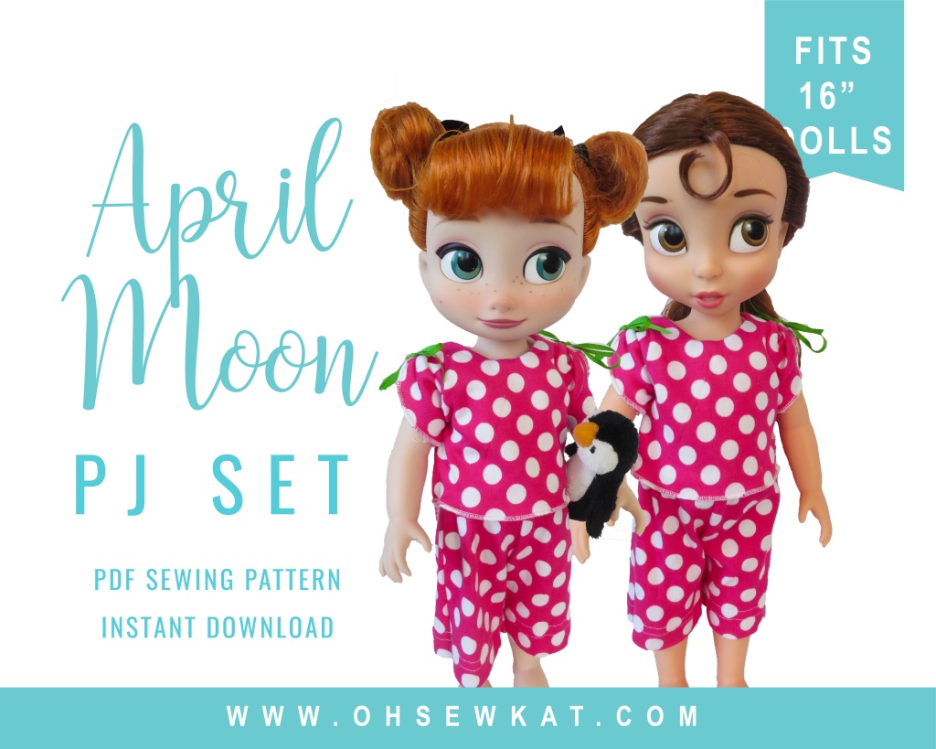 Make comfy pjs and a nightshirt with this easy sewing pattern for 16 inch Animator dolls by Oh Sew Kat!