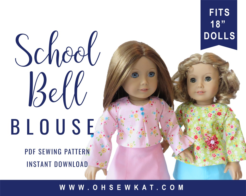 18 inch doll clothes sewing pattern by Oh Sew Kat! Make a School Bell Blouse for your American Girl doll with this easy sewing pattern you print at home!