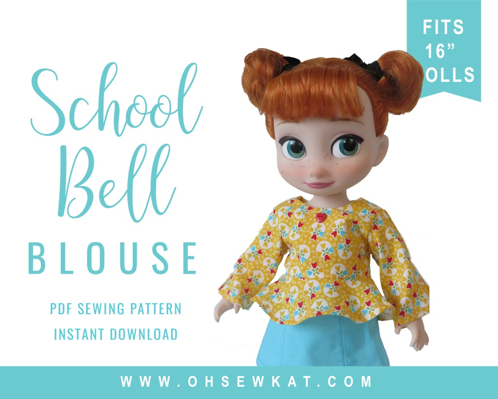 School Bell Blouse PDF Sewing Pattern for 16 inch Animators Dolls by Oh Sew Kat!