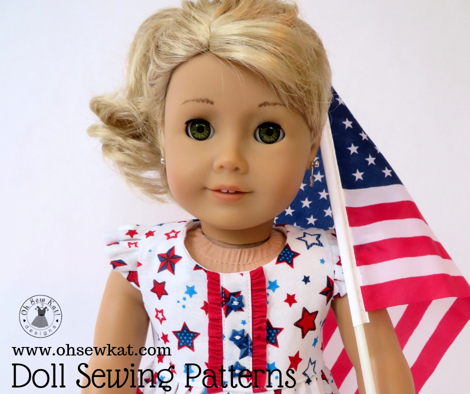 Make doll clothes for 18 inch dolls like American Girl and Our Generation with easy, PDF sewing pattern tutorials from Oh Sew Kat!