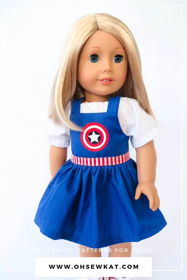Make adorable Captain America dress overalls style bibs with the easy Backyard Bibs sewing pattern for 18 inch dolls by Oh Sew Kat! Be your daughter's superhero! Easy to sew printable PDF sewing patterns are available for dolls in 5 sizes.