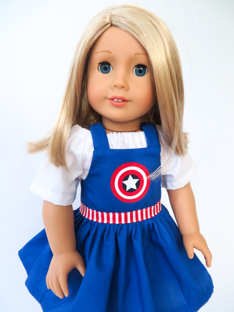 Make adorable Captain American dress bibs with the easy Backyard Bibs sewing pattern for 18 inch dolls by Oh Sew Kat! Easy to sew printable PDF sewing patterns are available for dolls in 5 sizes.