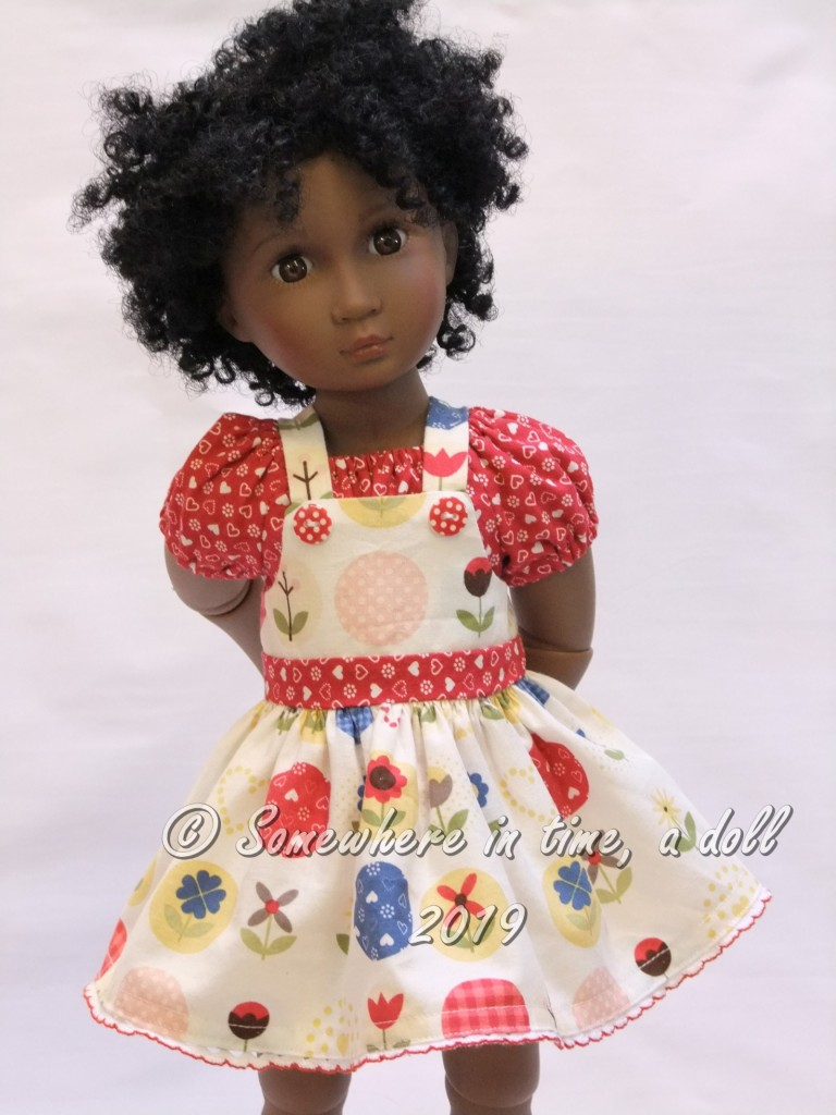 Make a darling overalls outfit for your 16 inch A Girl for All Time doll with easy PDF doll clothes sewing patterns by OH SEW KAT.