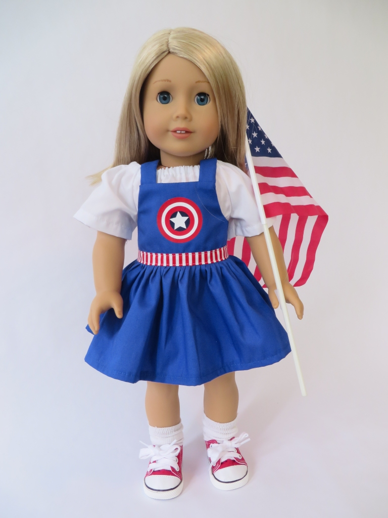 Make a superhero dress for dolls! Use the easy to sew Backyard Bibs sewing pattern to make fun overall romper dresses for 18 inch and other sized dolls. Find Oh Sew Kat! on Etsy!