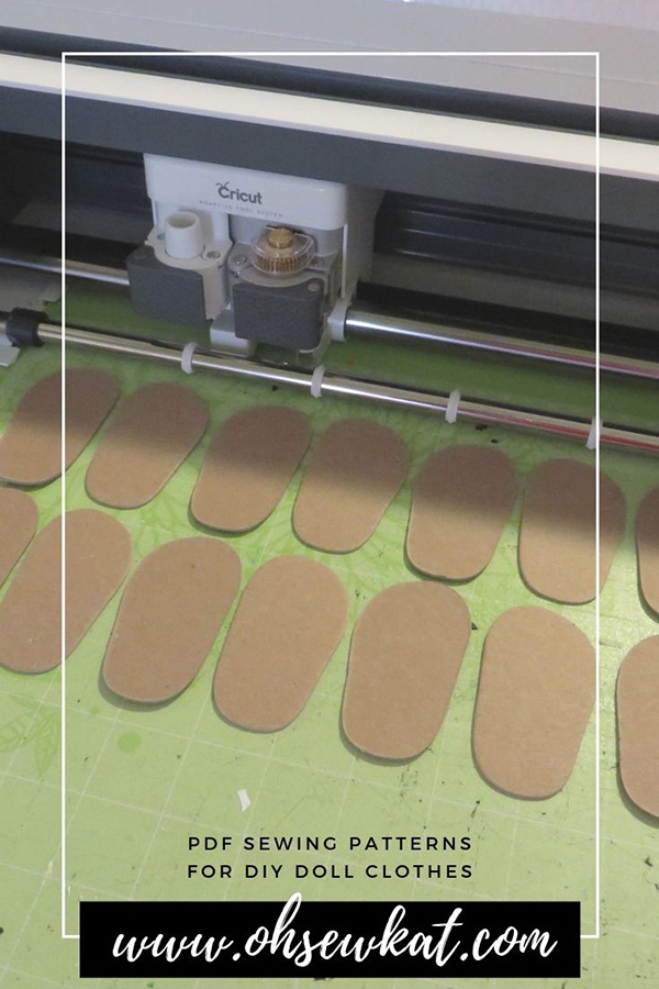 Make doll shoes with the Cricut Maker or a Cameo cutting machine. Find easy patterns at Oh Sew Kat!