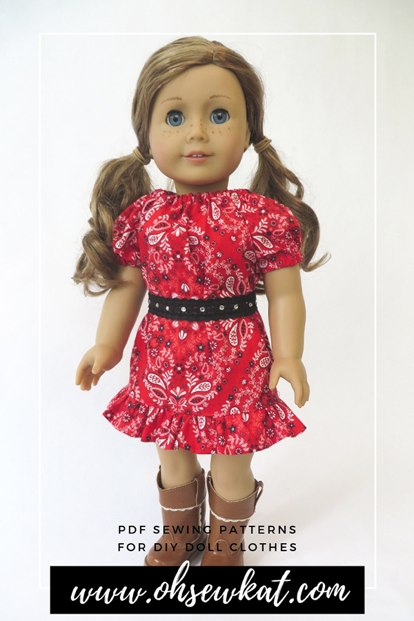 Make a bandana ruffled dress with the Playtime Peasant Top PDF sewing pattern. Oh Sew Kat! offers easy doll clothes sewing pattern tutorials to make diy doll clothes for 18 inch dolls like American Girl. Patterns also available in other popular doll sizes. #dollclothes #sewingpattern
