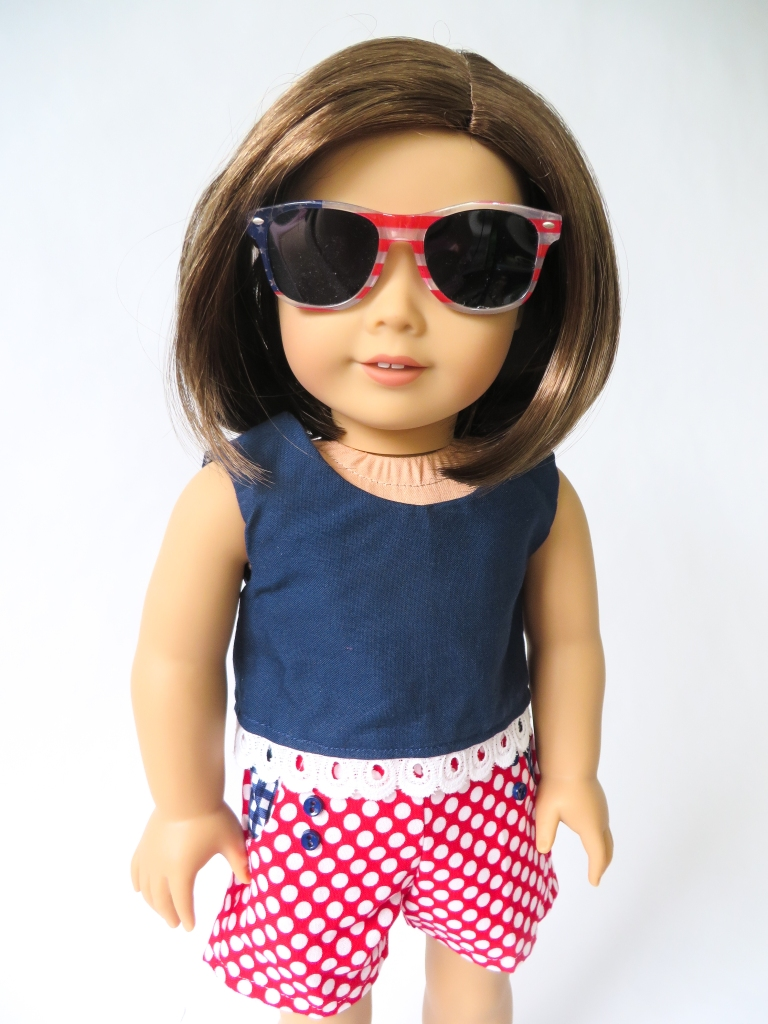 Sewing patterns for 18 inch dolls- Sandbox Shorts and Popsicle Top by Oh Sew Kat! to make cute, 4th of July doll clothes.