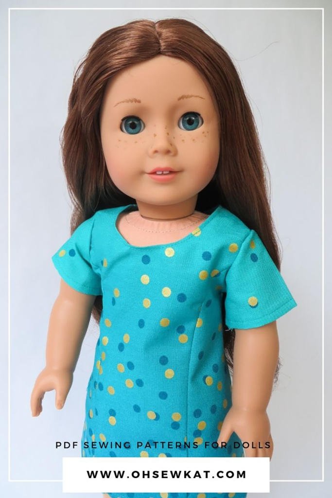 Use the easy to sew Sunshine Dress PDF pattern to make a summer doll dress that shines. Print at home, photo turotial to make 18 inch doll dress and clothes from Oh Sew Kat! #americangirldoll #dollclothes #sewingpattern