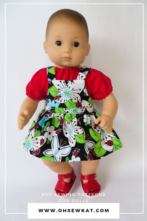 Bitty Baby dress and overalls sewing pattern - easy to sew PDF pattern for doll clothes by oh sew kat
