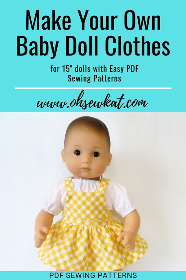 Bitty Baby 15 inch baby doll clothes sewing patterns- easy to sew PDF patterns by OH Sew kat.