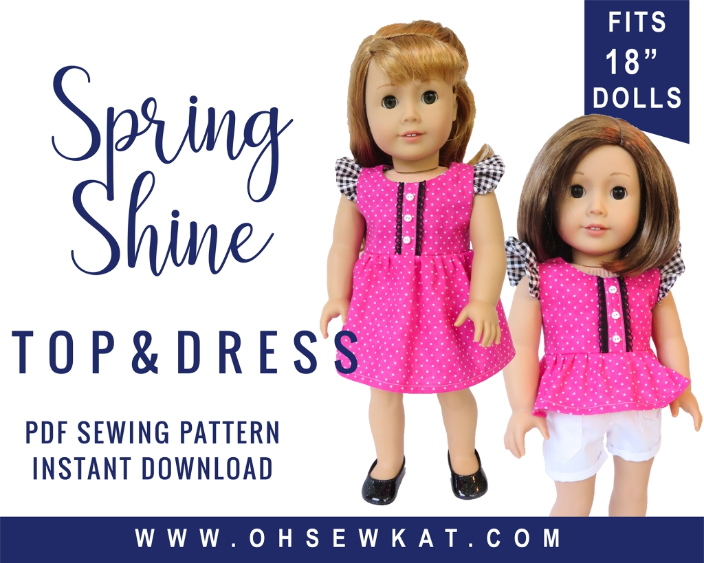 Easy sewing pattern for doll dress and doll top by oh sew kat! Make a flutter sleeve dress for your 18 inch doll with PDF pattern you print at home to DIY.