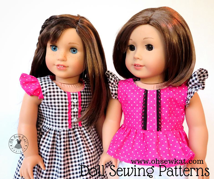 Make a doll dress for your 18 inch doll with the flutter sleeve Spring Shine Dress sewing pattern from oh sew kat! It's easy to DIY your own doll clothes and be a fashion designer~ #ohsewkat #dollclothes #sewingpattern