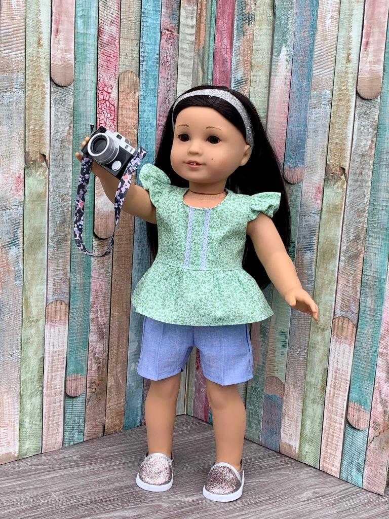 Flutter sleeve doll dress- make your own 18 inch doll clothes with easy sewing PDF patterns by Oh Sew Kat! Be a fashion designer~ #ohsewkat #dollclothes #sewingpattern