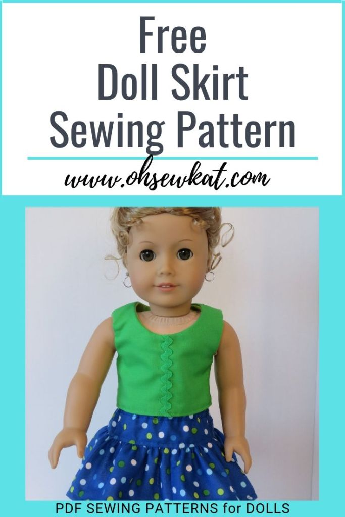 Download and sew today! Free doll skirt sewing pattern fits 18 inch, 14 inch and 16 inch dolls by OhSewKat!