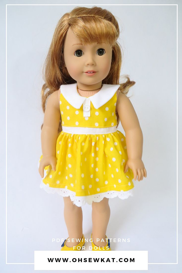 Make your own Gabby Gabby inspired yellow polka dot doll dress with easy sewing patterns from Oh Sew Kat!