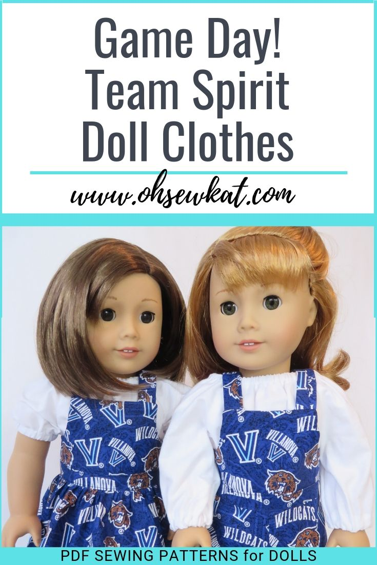 Make team spirit and game day doll outfits with easy sewing patterns from Oh Sew Kat!