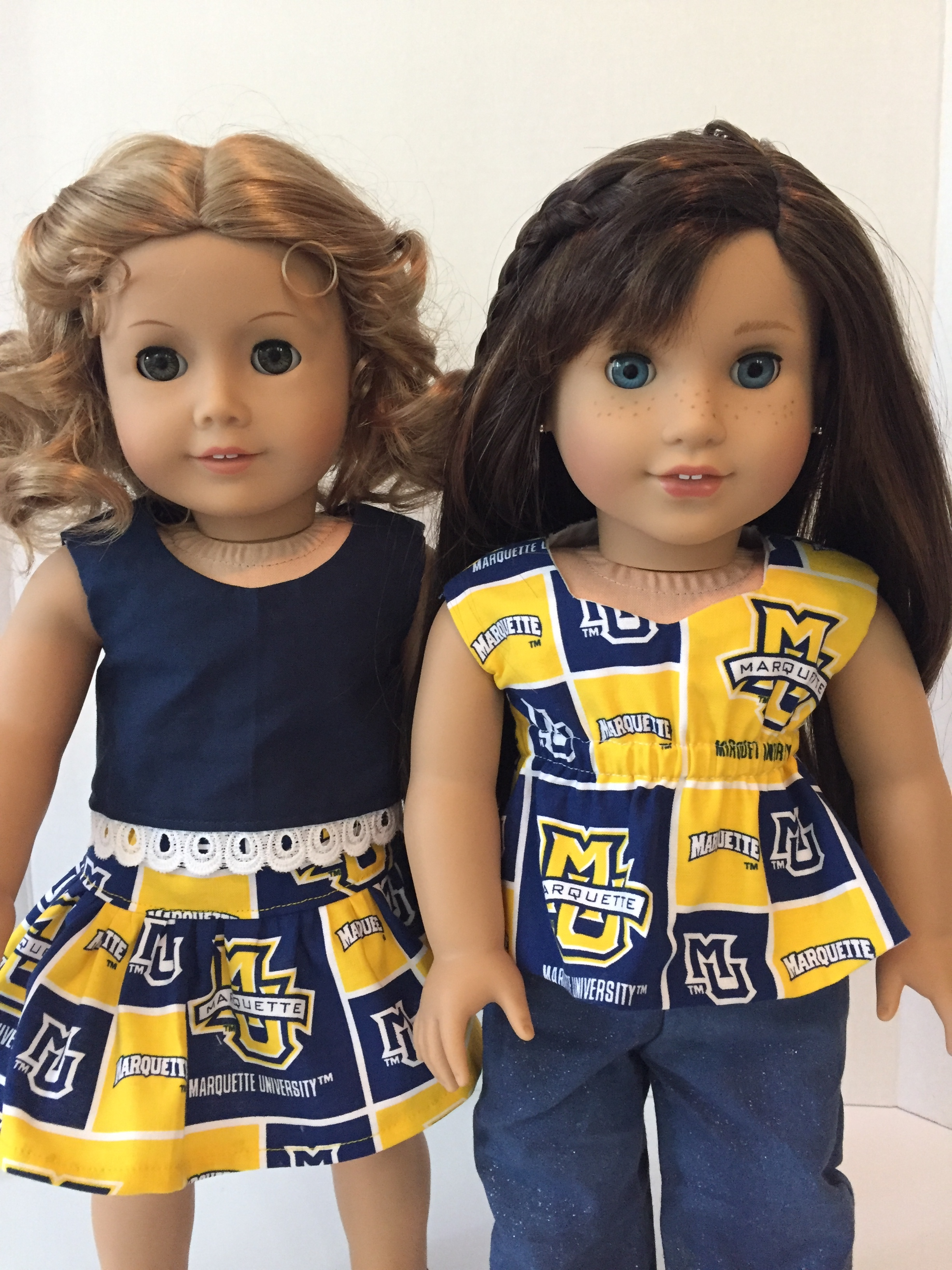 Marquette University spirit wear 18 inch doll clothes made with sewing patterns by Oh Sew Kat. Go Golden Eagles!