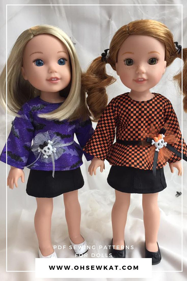 Make long sleeve top for 14 inch dolls with this easy PDF sewing pattern for wellie wishers and glitter girls from Oh Sew Kat! School Bell Blouse with two styles - ready for fall! #welliewishers #glittergirls #ohsewkat