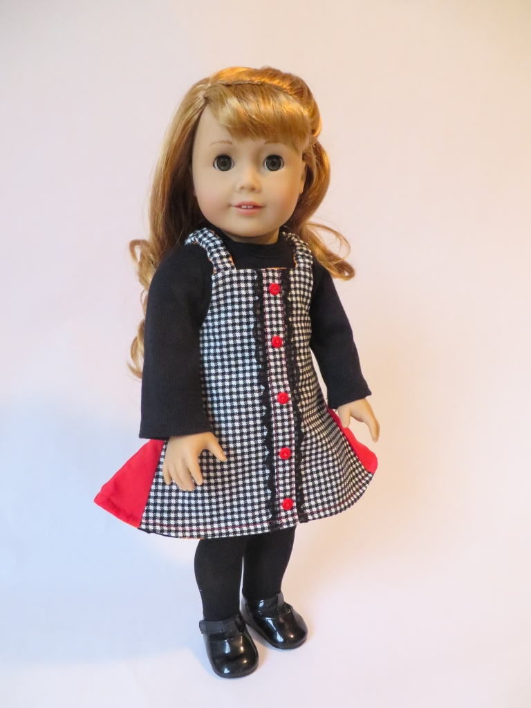 Classic houndstooth jumper for 18 inch dolls- make it with the Easy Up Sewing Pattern for dolls by Oh Sew Kat