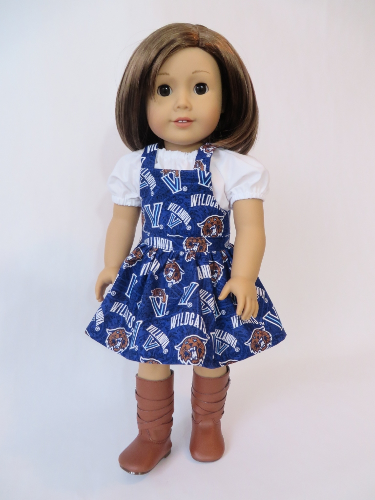 Villlanova Bibbed Skirt Doll Dress made with the Backyard Bibs easy PDF sewing Pattern for 18 inch dolls by Oh Sew Kat! Great for all VU Wildcat Fans!
