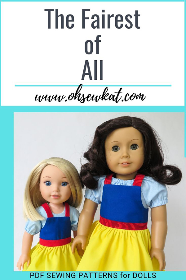 Make a Snow White inspired doll dress using the Backyard Bibs sewing pattern. Easy beginner level pdf digital patterns for 18 inch dolls.