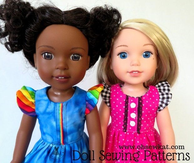 Sew doll dresses for wellie wishers dolls with easy sewing patterns by oh sew kat! full sized patterns you print on your home computer. Lots of popular doll sizes.