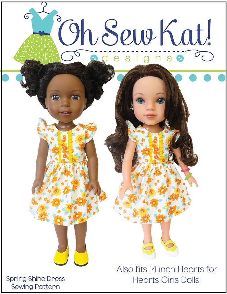 Wellie Wishers sewing pattern to make a dress or top with placket and flutter sleeves. Easy beginner level sewing patterns to diy your own doll clothes for 14 and 18 inch dolls by Oh Sew Kat! #welliewishers #dollclothes #sewingpattern
