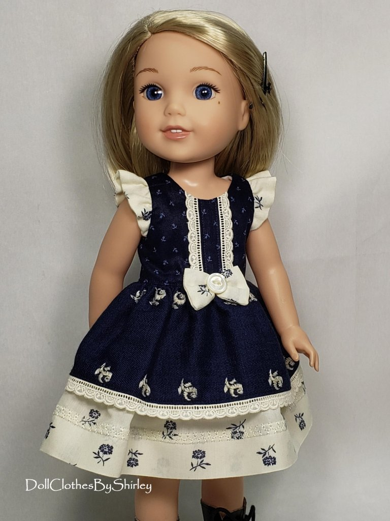 Make a pretty sundress for your 14.5 inch dolls like Welliewishers and Gliter Girls with this Spring Shine Dress sewing PDF sewing pattern by Oh Sew Kat! Faux placket and flutter sleeves, make it a dress or a simple top. Easy to sew pattern for beginners.