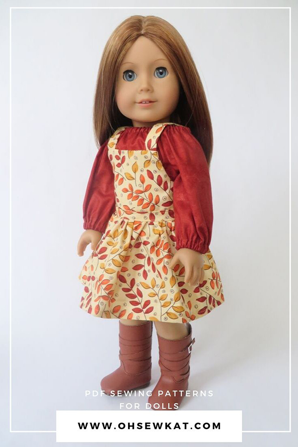 Fall jumper and peasant top outfit for 18 inch dolls like American Girl dolls. Find easy sewing patterns for beginners at ohsewkat.com.