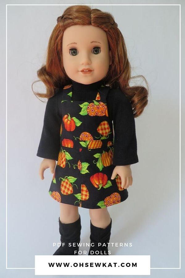 Make a perfect fall jumper and peasant top for 18 inch dolls like American Girl dolls with easy PDF sewing patterns from Oh Sew Kat! #dollclothes #18inchdolls #fallcrafts