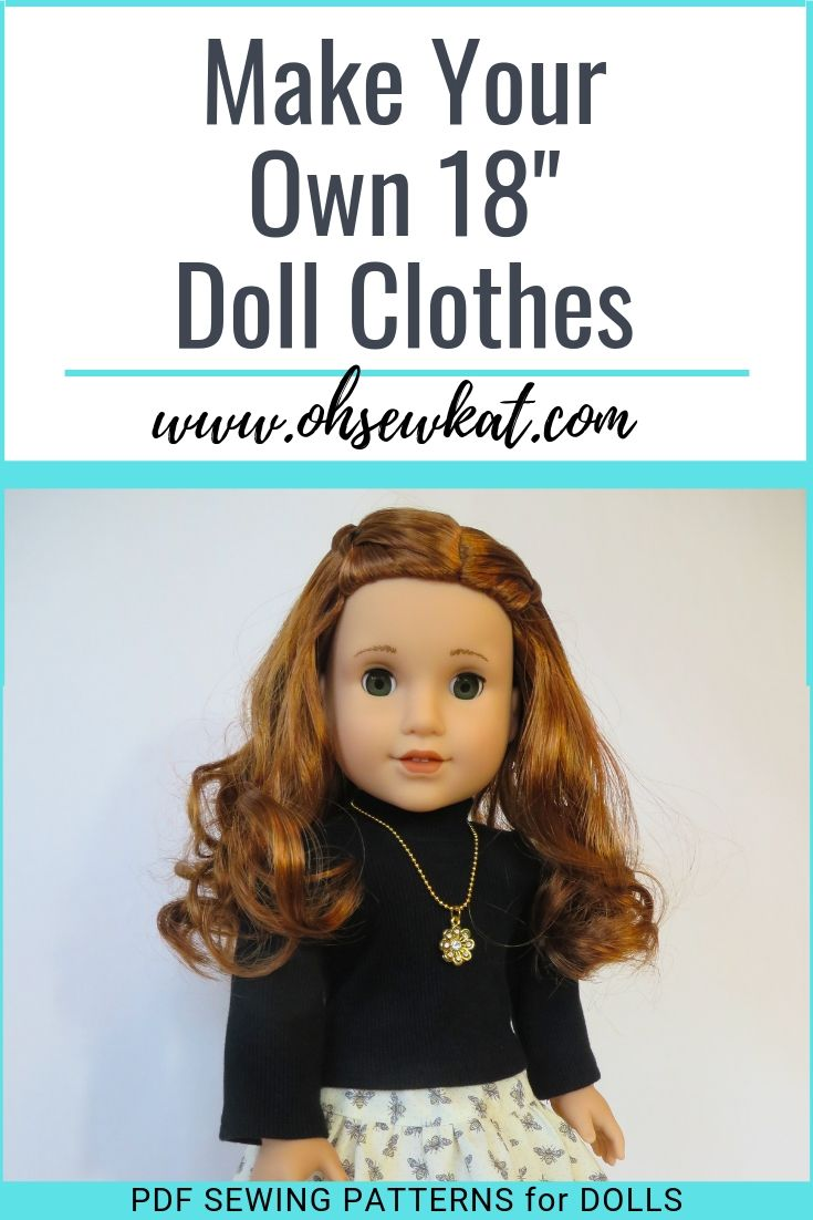 Make 18 inch doll clothes with classic looks and easy patterns from Oh Sew Kat! PDF patterns to print at home.
