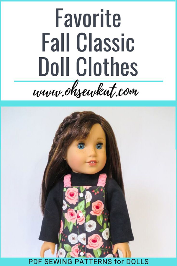 Make classic doll clothes for fall with easy sewing patterns from Oh Sew Kat! Digital download sewing patterns are easy to follow for beginners with full tutorials and lots of options.