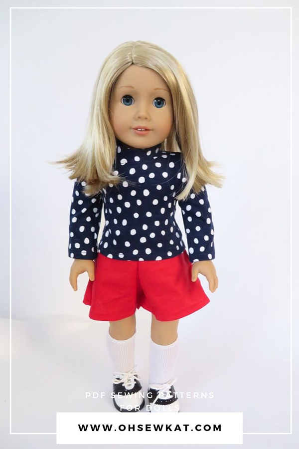 18 inch doll clothes sewing pattern knit turtleneck shorts and jumper by Oh Sew Kat! Easy pdf digital sewing patterns for dolls.