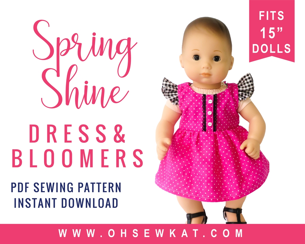 Easy PDF sewing pattern for Bitty Baby 15 inch baby doll dress by OH Sew Kat. Find more print at home photo tutorials for Bitty Baby and Bitty Twins.