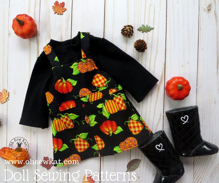 Pumpkin spice and everything nice cute doll clothes for American Girl dolls in fall. Pumpkin jumper and turtleneck shirt sewing patterns by Oh Sew kat!