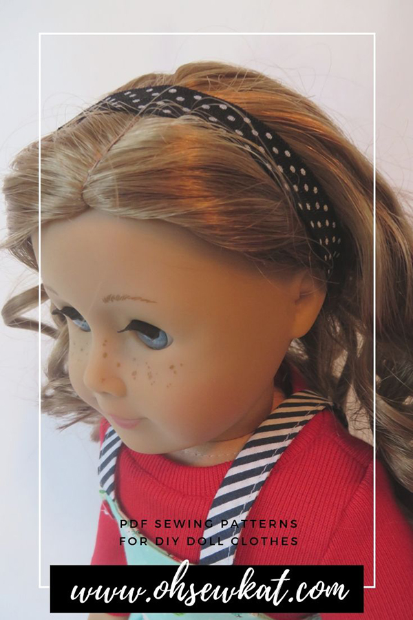 Use fold over elastic when you are sewing doll clothes for quick and pretty accents, belts, headbands, straps, hems and more! Find easy to sew beginner level doll clothes sewing patterns from Oh Sew Kat!