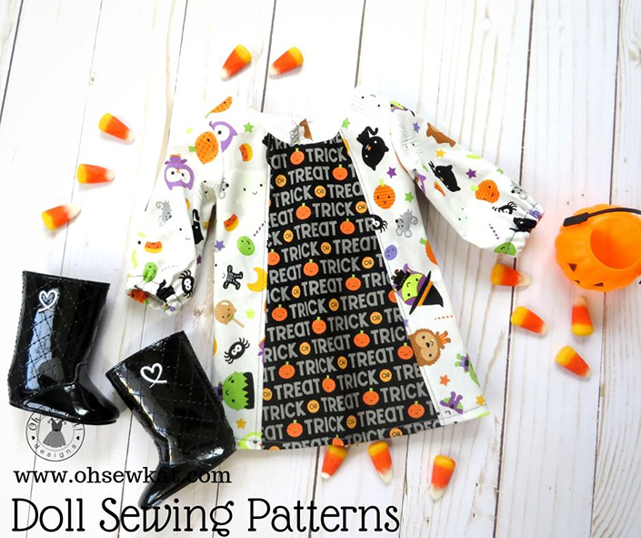 Make your 18 inch doll a cute Halloween doll dress or outfit with easy sewing patterns by Oh Sew Kat! Find doll clothes patterns for five sizes in my etsy shop.
