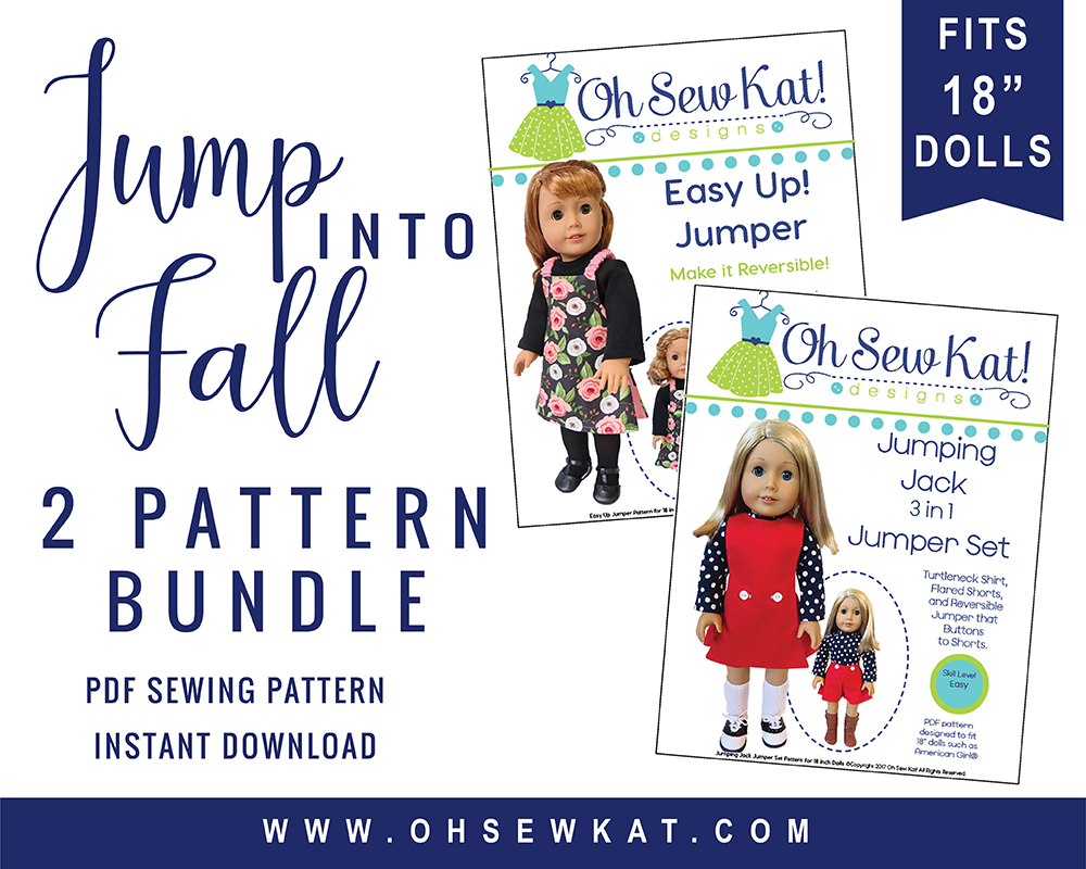 Easy sewing pattern bundle for 18 inch dolls like American Girl. Easy to sew PDF patterns by ohsewkat for diy dollclothes