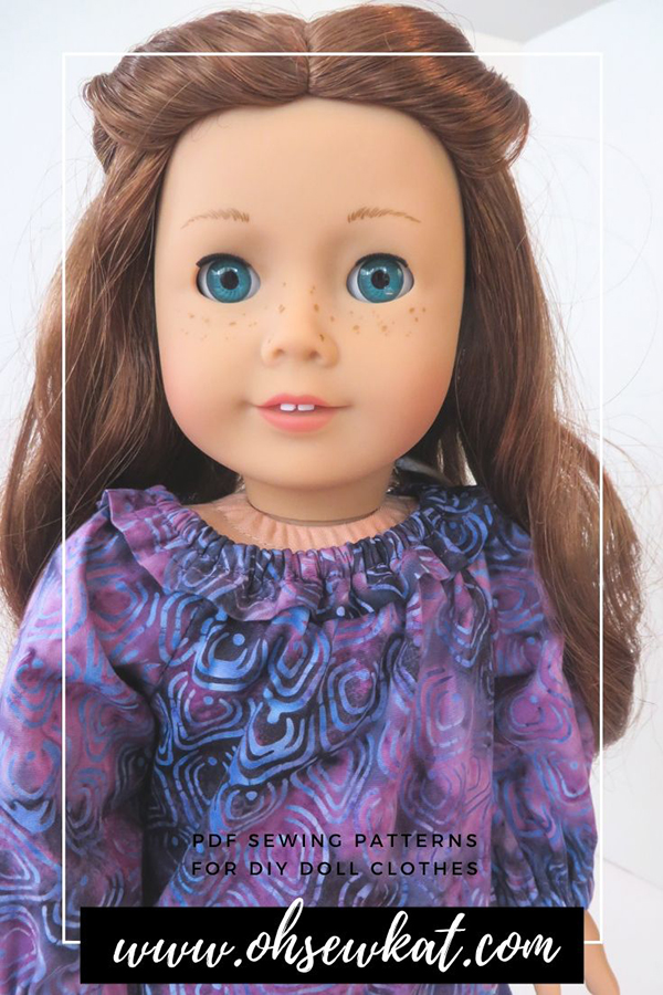 Add a ruffle to the neckline of an easy doll sized peasant top for a pretty top for 18 inch dolls. Find more easy patterns to sew for your dolls at Oh Sew Kat! to include a free skirt pattern.