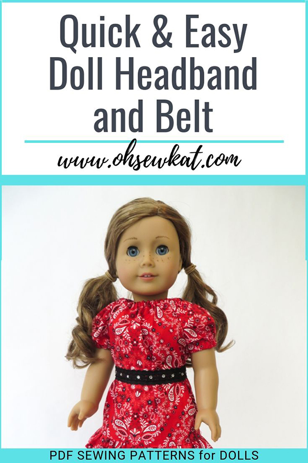 Make an easy headband or belt for your dolls with fold over elastic and this easy tutorial from Oh Sew Kat! doll clothes sewing patterns.#18inchdoll #dollcrafts