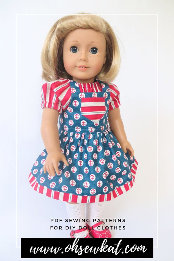 Use the Backyard Bibs easy sewing pattern to make a cute, nautical outfit for your doll like American girl Kit or other 18 inch dolls. Easy beginner sewing pattern tutorials from Oh Sew Kat! in my etsy store.