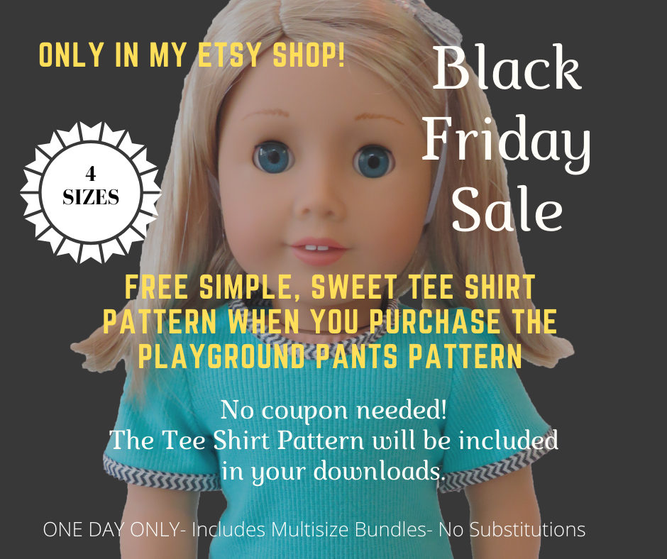 Free tee shirt pattern with pants pattern purchase Black Friday 2019nONLY from Oh Sew Kat! #blackFriday