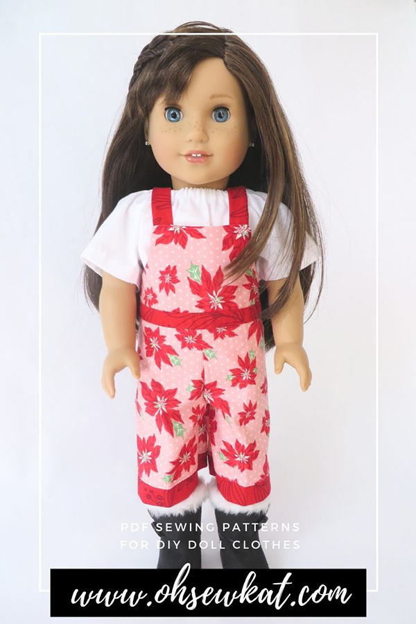 Make Easy Christmas outfits to sew for 18 inch dolls like American Girl Dolls with sewing patterns from Oh Sew Kat!  Made with fabric from Merry Merry Snow Days by Moda Fabrics.