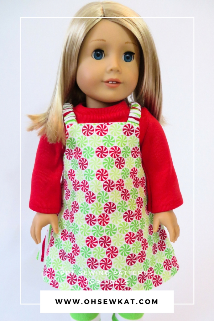 Easy Up Christmas Jumper sewing pattern by Oh Sew Kat for 18 inch dolls