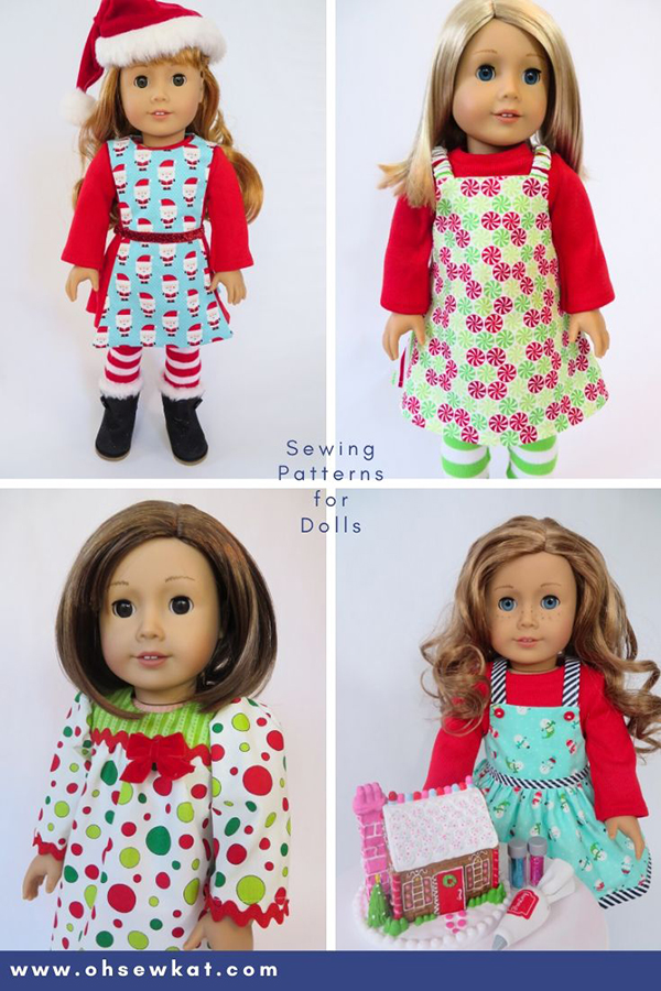 Make holiday doll clothes outfits with easy PDF sewing patterns from Oh Sew Kat! for 18 inch American Girl dolls.  Find the full selection in my Etsy shop!