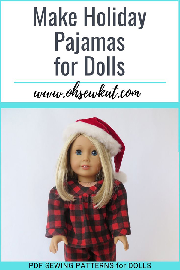 Make your 18 inch doll an adorable set of holiday pajamas pjs with the easy PDF Bloomer Buddies sewing pattern from Oh Sew Kat! Quick to sew, step by step beginner level patterns to make your American Girl sized doll shine this Christmas holiday season.