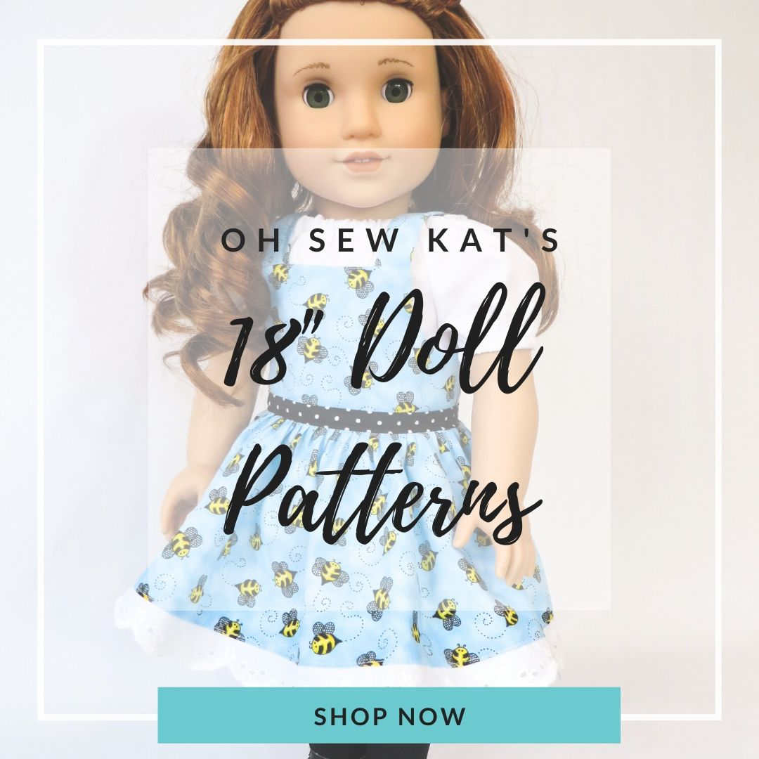 18 inch doll clothes sewing patterns to make modern doll clothes for 18 inch dolls like American Girl from Oh Sew Kat! Find over 20 sewing patterns in my Etsy Shop.