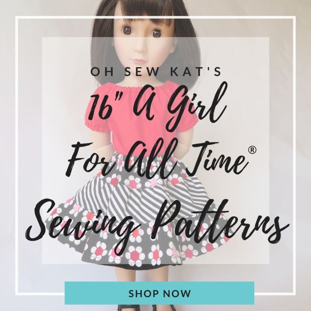 Sew DIY doll clothes for your 16 inch A Girl for All Time Doll with easy PDF sewing patterns from Oh Sew Kar! find the full pattern selection in my OhSewKat etsy shop.