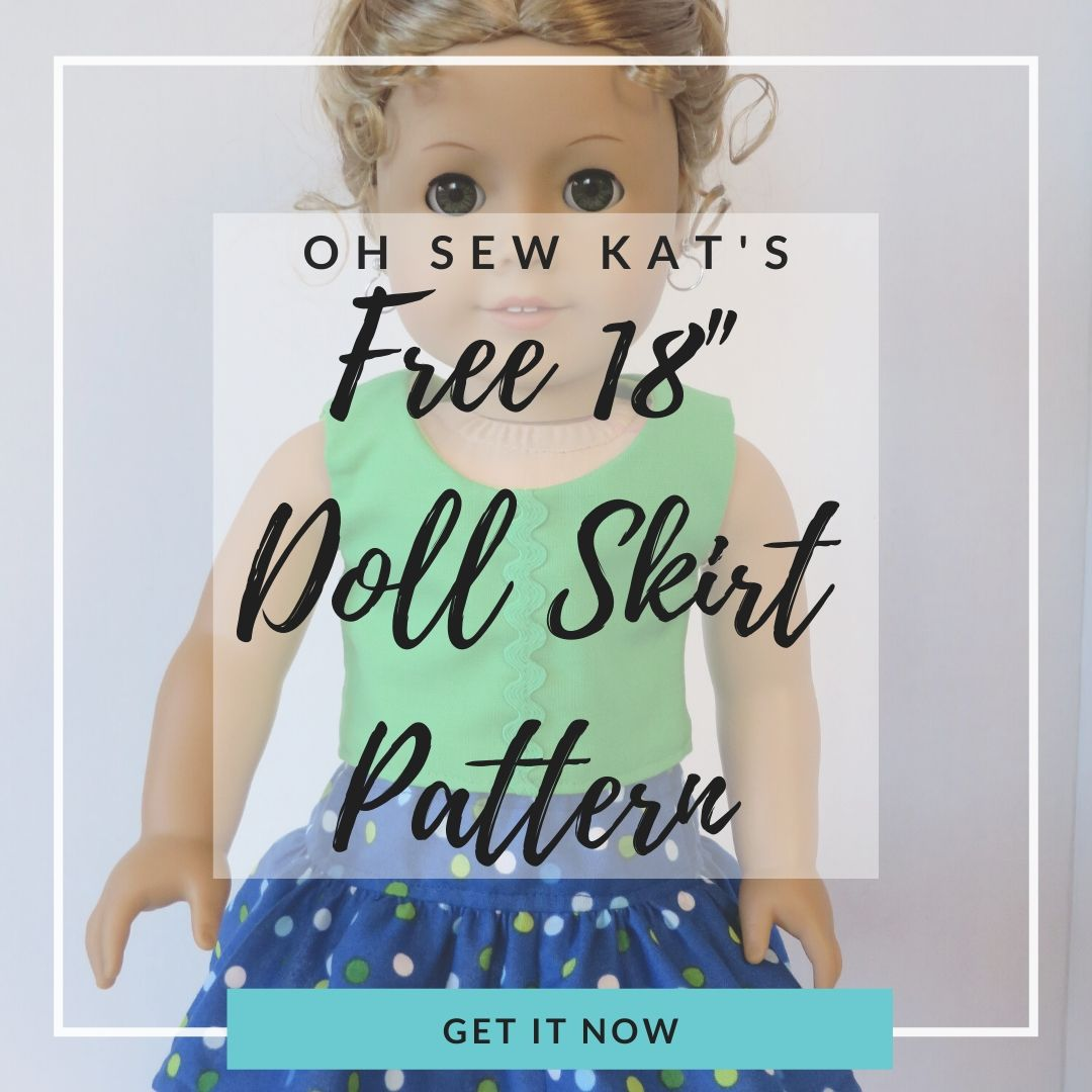 Free 18 inch doll skirt pattern from oh sew Kat. 18 inch doll clothes easy sewing patterns.