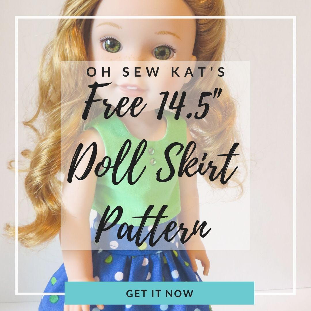 free pdf sewing pattern for `14.5 inch american girl dolls like wellie wishers by oh sew Kat.